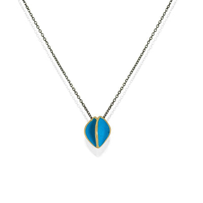 Short Black Silver Chain Necklace With Gold Plated Turquoise Pendant - Anthos Crafts