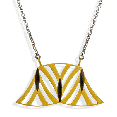 Handmade Short Black Chain Necklace With Gold & Black Plated Pendant - Anthos Crafts