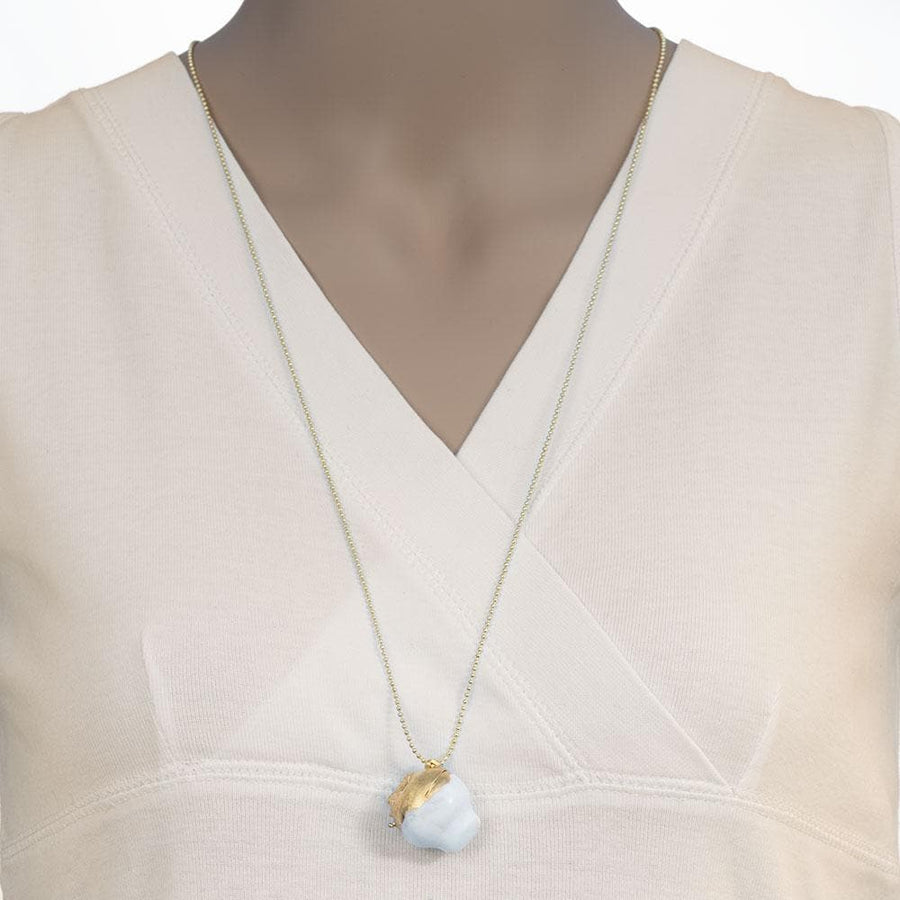 Handmade Long Pendant Necklace Gold Plated Ancient Greek Broken Kanata (pot) With White Enamel - Anthos Crafts