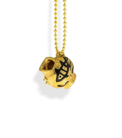 Handmade Long Pendant Necklace Gold Plated Small Ancient Greek Broken Kanata (pot) Little Fish - Anthos Crafts