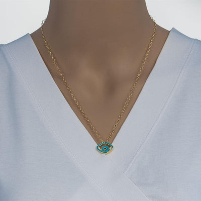 Handmade Gold Plated Silver Short Necklace Light Blue Evil Eye - Anthos Crafts