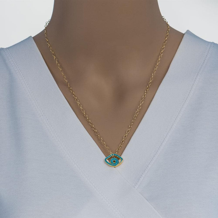 Handmade Gold Plated Silver Short Necklace Light Blue Evil Eye