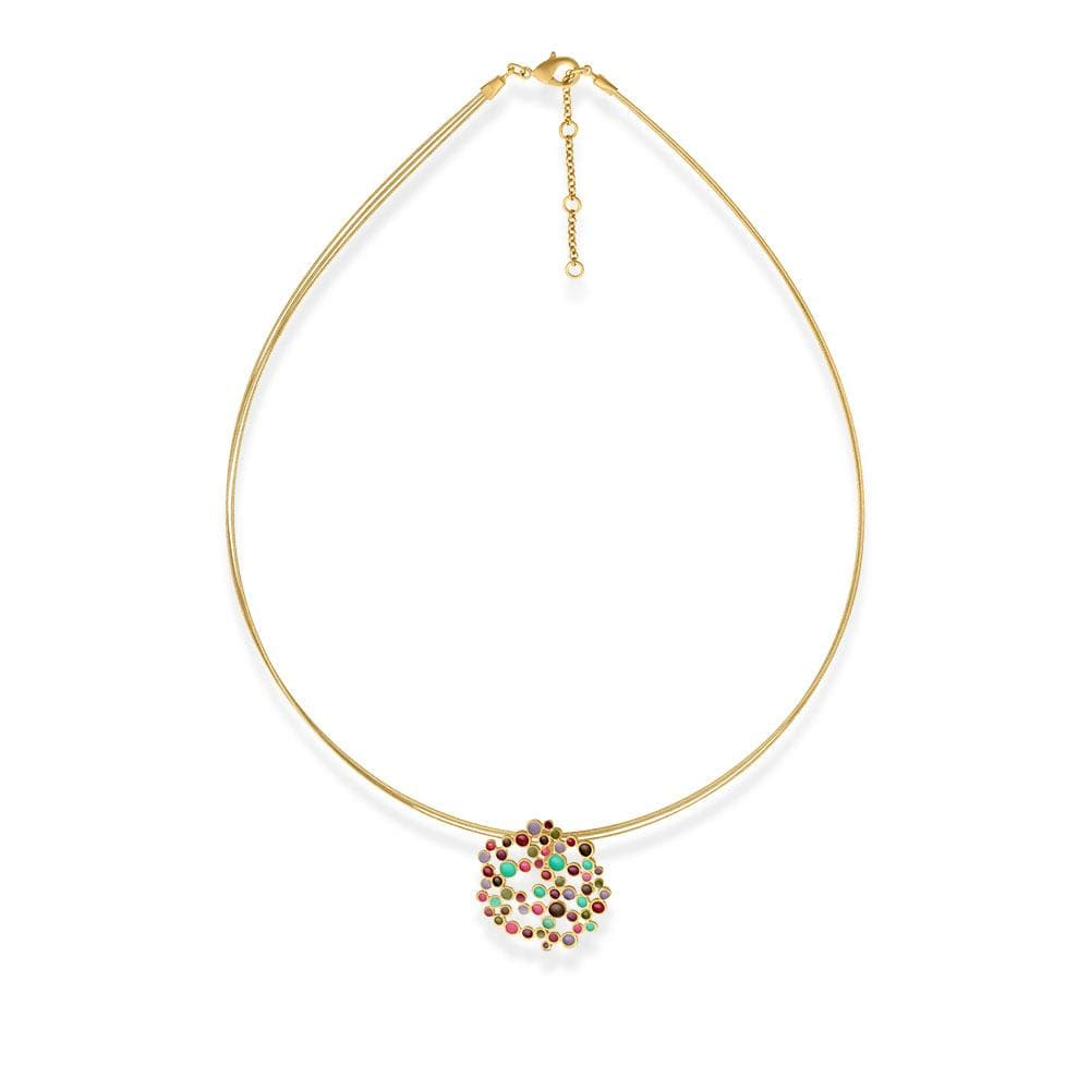 Handmade Gold Plated Short Necklace With Multicolor Enamel Candy Colors JOIDART - Anthos Crafts