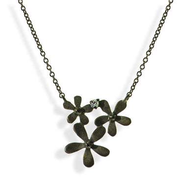 Short Black Silver Chain Necklace Little Flowers - Anthos Crafts