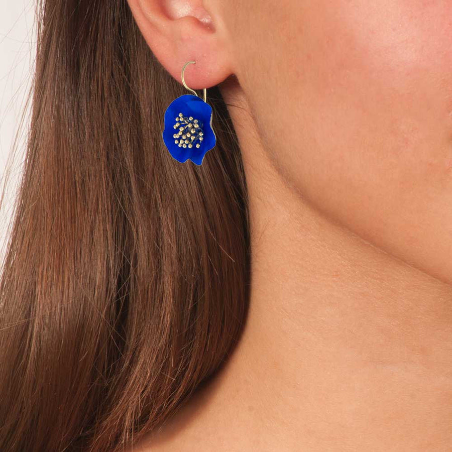 Handmade Gold Plated Silver Blue Flower Earrings
