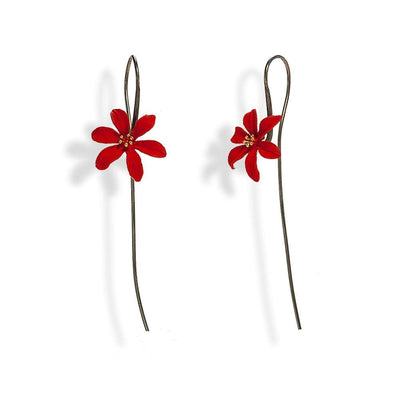 Handmade Black Plated Silver Red Flower Drop Earrings - Anthos Crafts