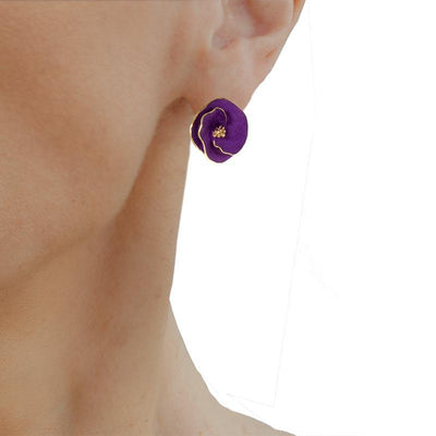 Handmade Gold Plated Silver Purple Flower Stud Earrings - Anthos Crafts