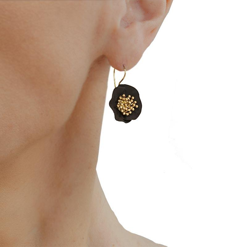 Handmade Gold Plated Silver Black Flower Earrings - Anthos Crafts