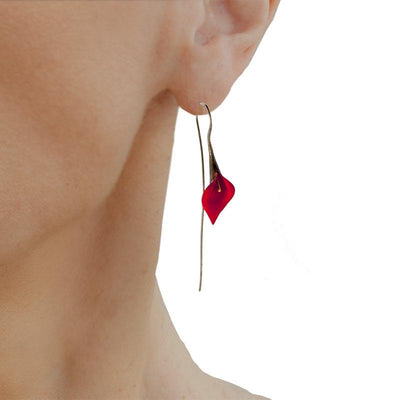 Handmade Black Plated Silver Red Lily Drop Earrings - Anthos Crafts