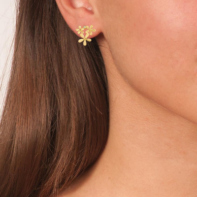 Handmade Gold Plated Silver Stud Earrings Flowers - Anthos Crafts