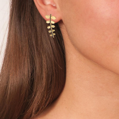 Handmade Gold Plated Silver Drop Earrings Leaves with Black Plated Stem - Anthos Crafts