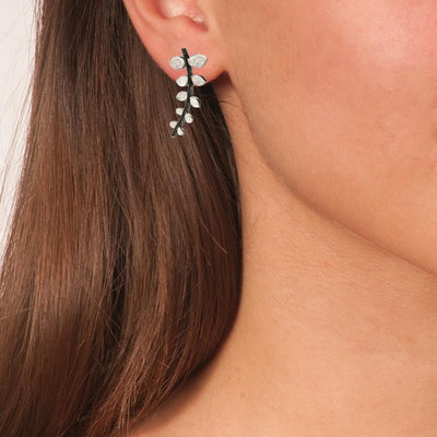 Handmade Silver Drop Earrings Leaves with Black Plated Stem - Anthos Crafts