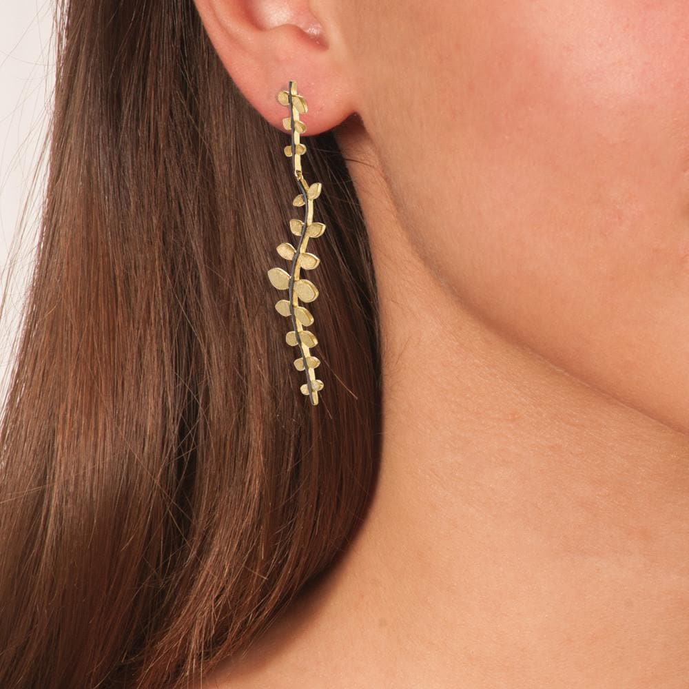 Handmade Gold Plated Silver Long Dangle Earrings Leaves with A Black Plated Stem - Anthos Crafts