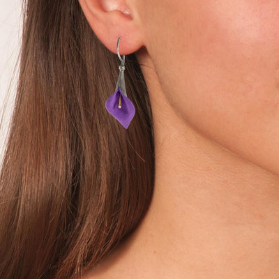 Handmade Black Plated Silver Purple Lily Drop Earrings - Anthos Crafts