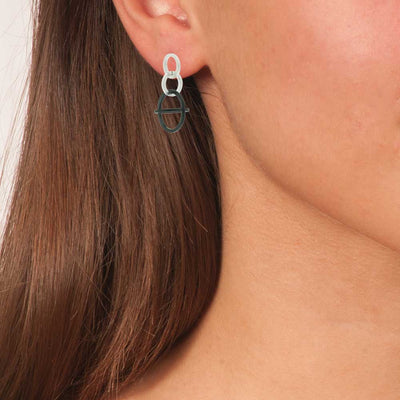 Handmade Silver & Black Plated Drop Earrings With Silver & Black Rings - Anthos Crafts