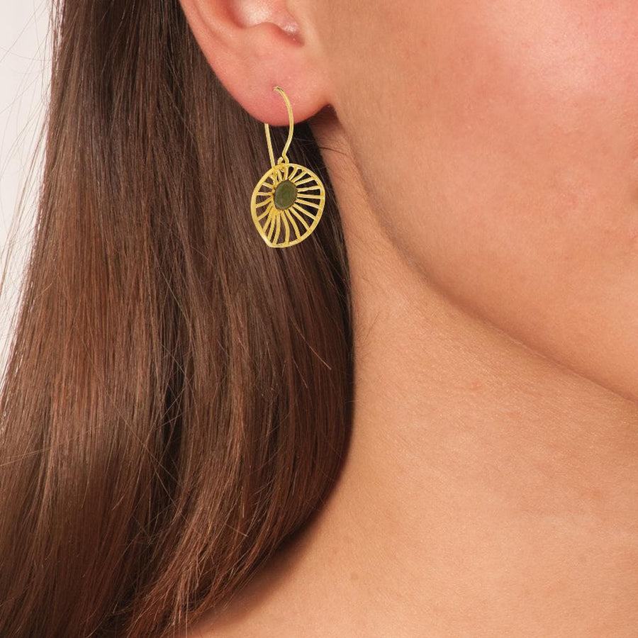 Handmade Gold Plated Silver Flower Dangle Earrings - Anthos Crafts