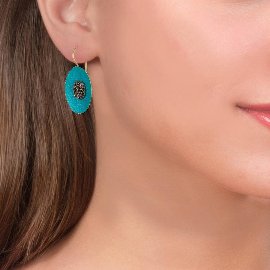 Handmade Gold Plated Silver Turquoise Flower Earrings With Black Zirconia - Anthos Crafts