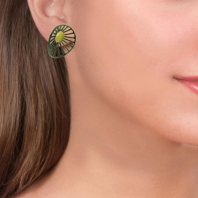 Handmade Black & Gold Plated Silver Flower Earrings - Anthos Crafts