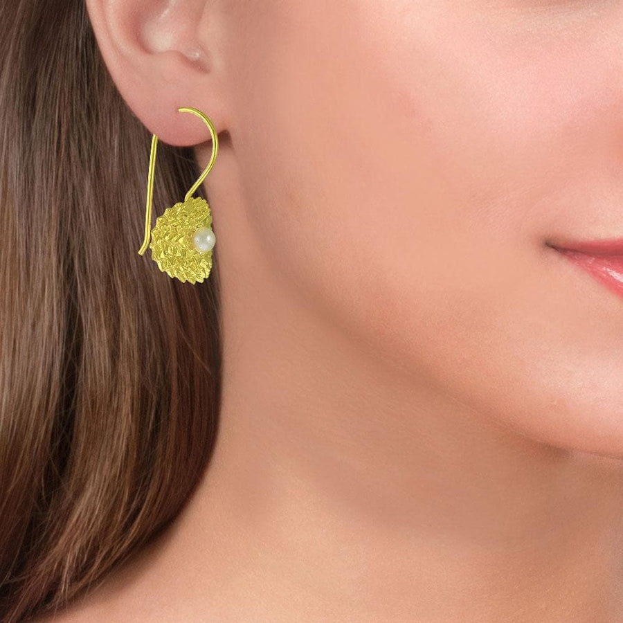 Handmade Gold Plated Silver Flower Drop Earrings With Pearls - Anthos Crafts