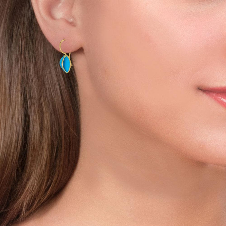 Handmade Gold Plated Silver Turquoise Earrings