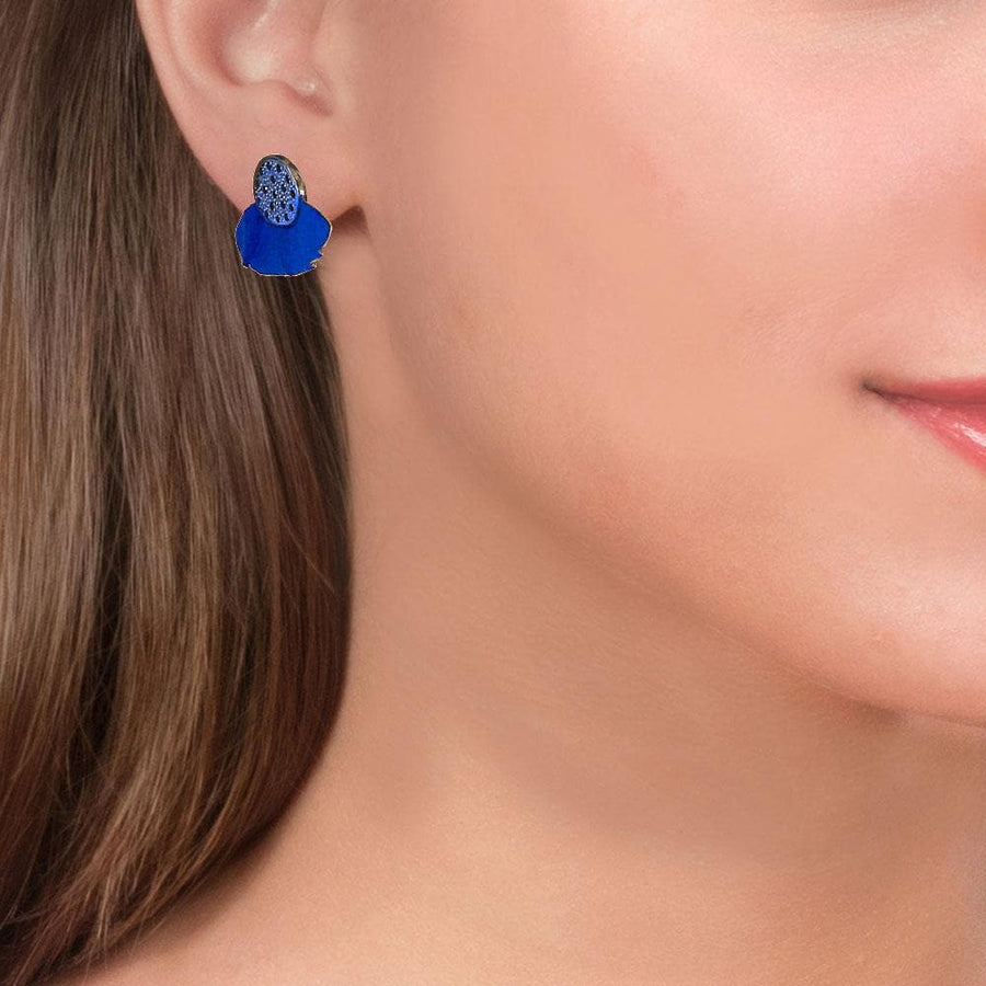 Handmade Gold Plated Silver Royal Blue Stud Earrings With Black Zirconia - Anthos Crafts