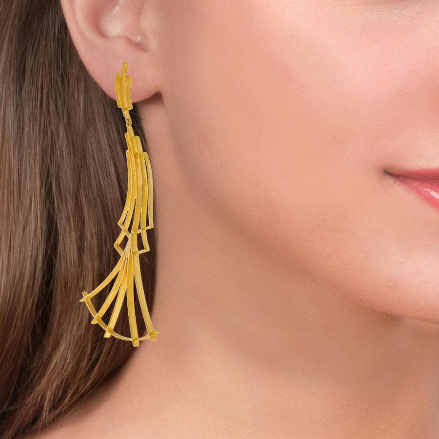 Handmade Gold Plated Silver Long Impressive Earrings