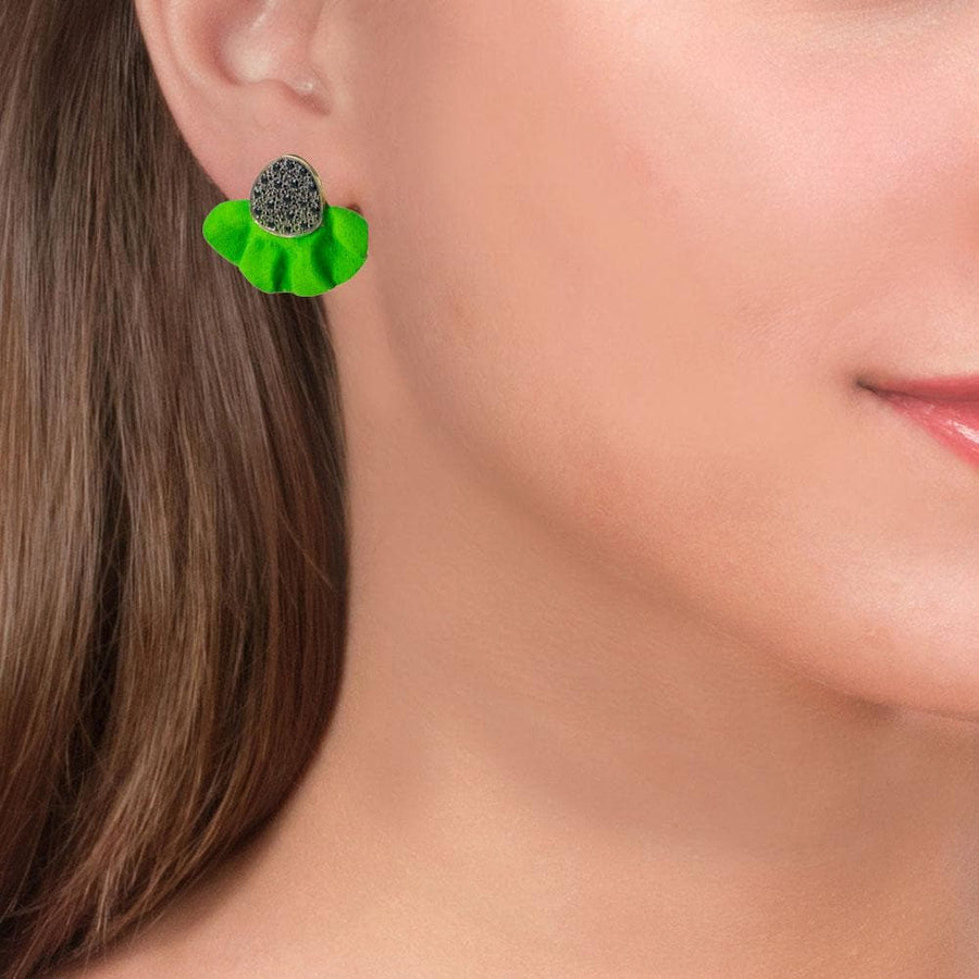 Handmade Gold Plated Silver Green Stud Earrings With Black Zirconia