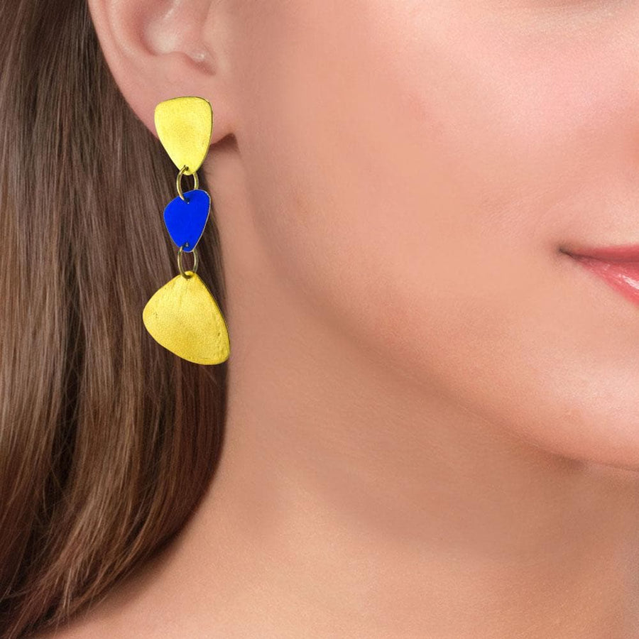 Handmade Gold Plated Silver Gold Royal Blue Dangle Earrings - Anthos Crafts