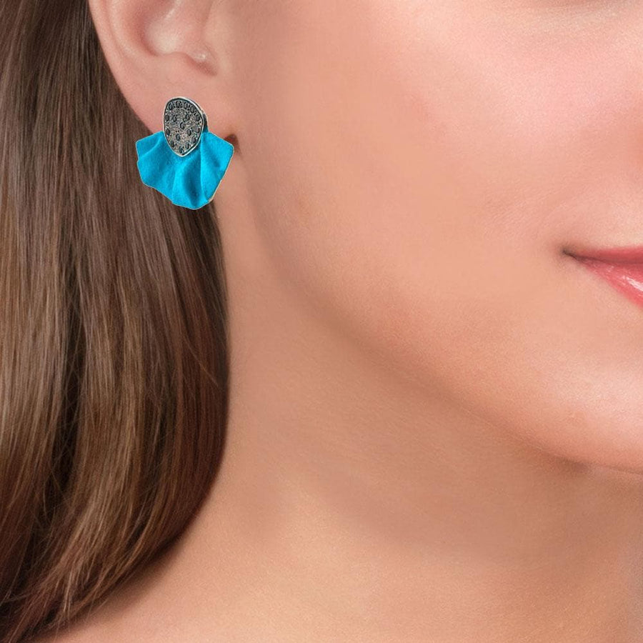 Handmade Gold Plated Silver Turquoise Stud Earrings With Black Zirconia