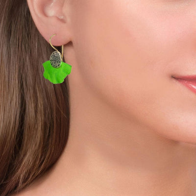 Handmade Gold Plated Silver Green Drop Earrings With Black Zirconia - Anthos Crafts
