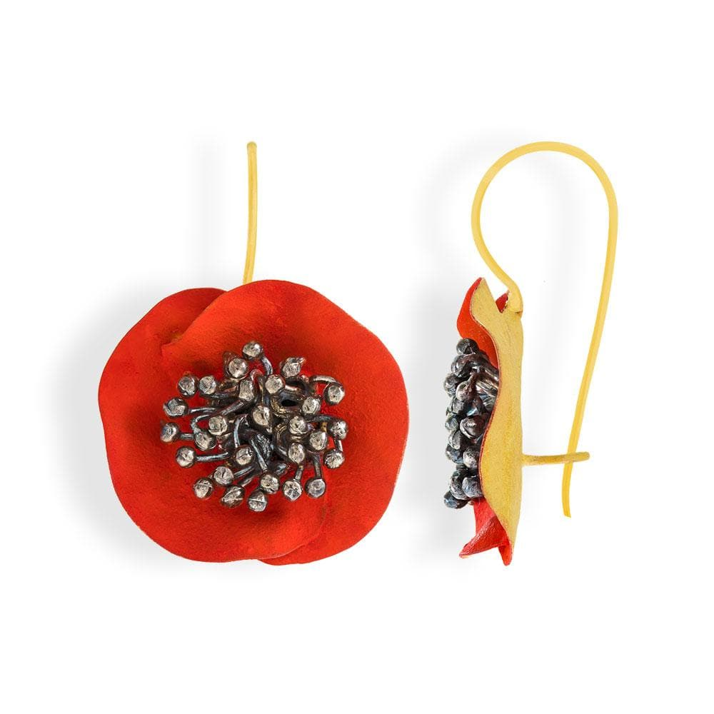 Handmade Gold Plated Silver Red Flower Earrings With Black Stamens - Anthos Crafts