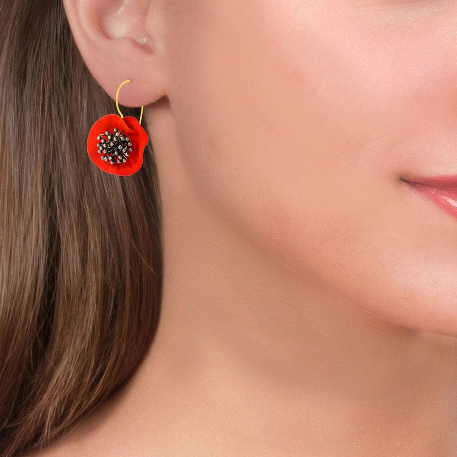 Handmade Gold Plated Silver Red Flower Earrings With Black Stamens