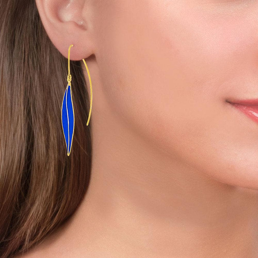 Handmade Gold Plated Silver Royal Blue Dangle Earrings Leaves - Anthos Crafts