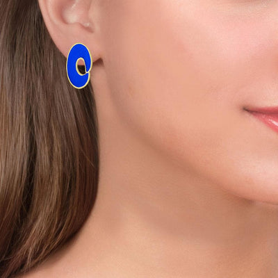 Handmade Gold Plated Silver Spiral Royal Blue Stud Earrings - Anthos Crafts