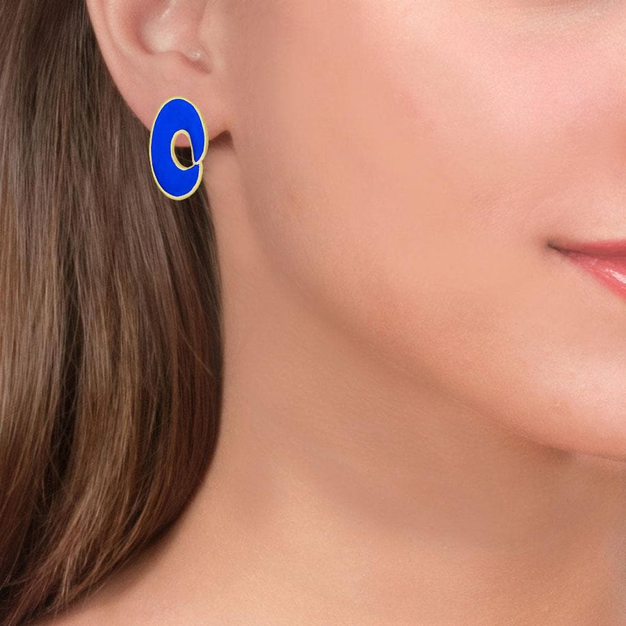 Handmade Gold Plated Silver Spiral Royal Blue Stud Earrings