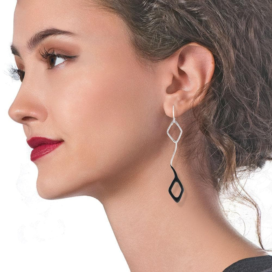 Handmade Silver Long Dangle Earrings With Black Enamel - Anthos Crafts