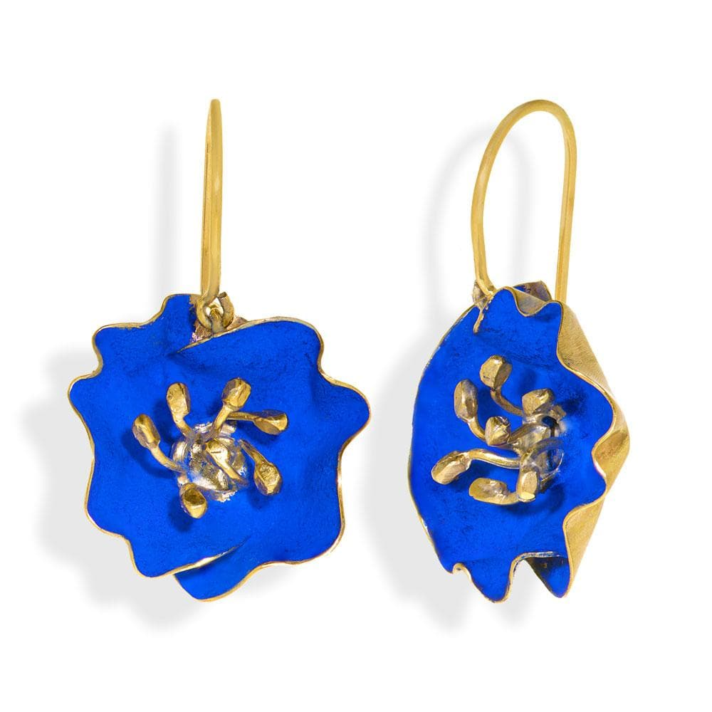 Handmade Gold Plated Royal Blue Begonia Flower Dangle Earrings - Anthos Crafts