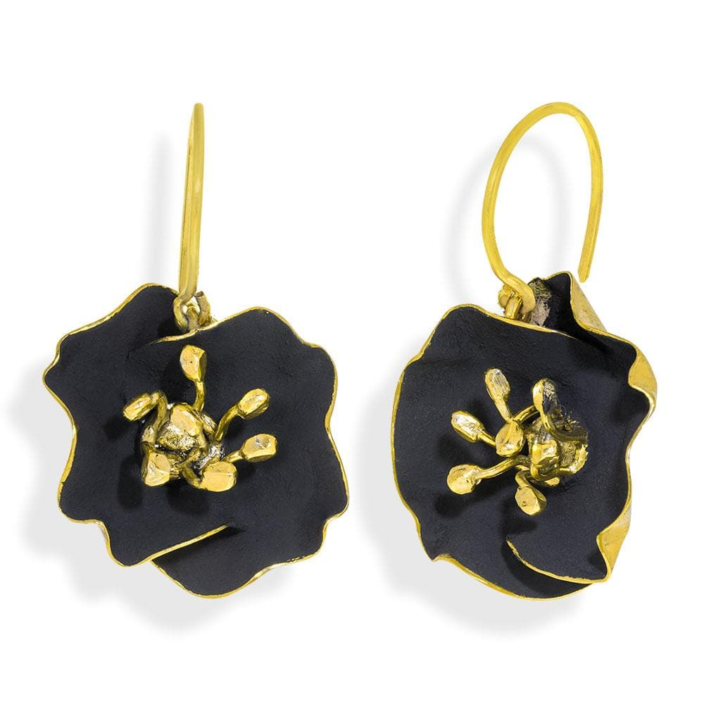Handmade Gold Plated Black Begonia Flower Dangle Earrings - Anthos Crafts