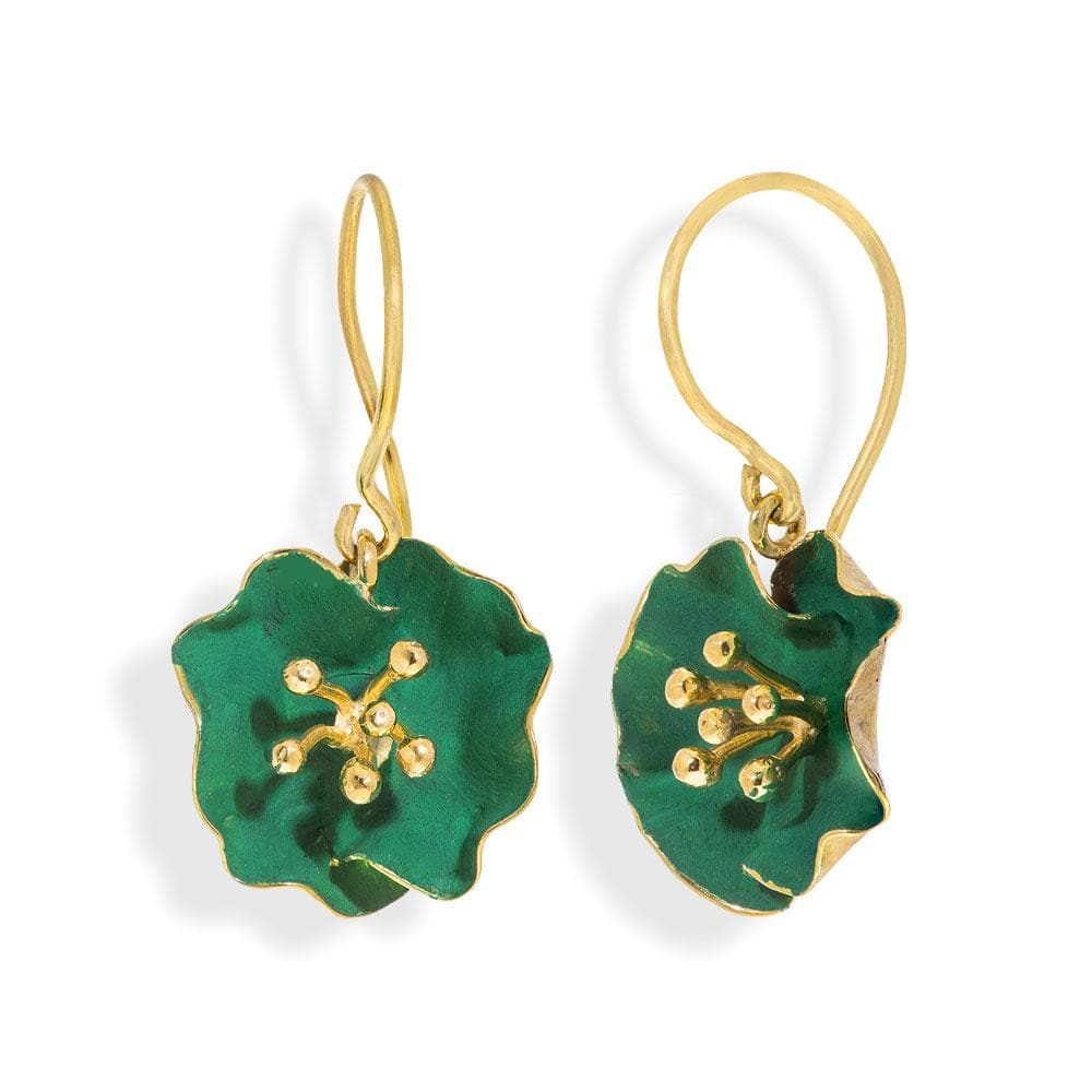 Handmade Gold Plated Silver Green Begonia Flower Dangle Earrings - Anthos Crafts