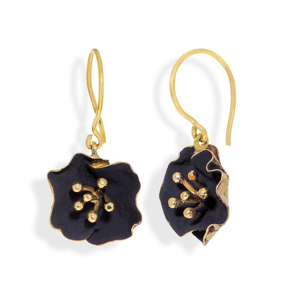 Handmade Gold Plated Silver Black Begonia Flower Dangle Earrings - Anthos Crafts