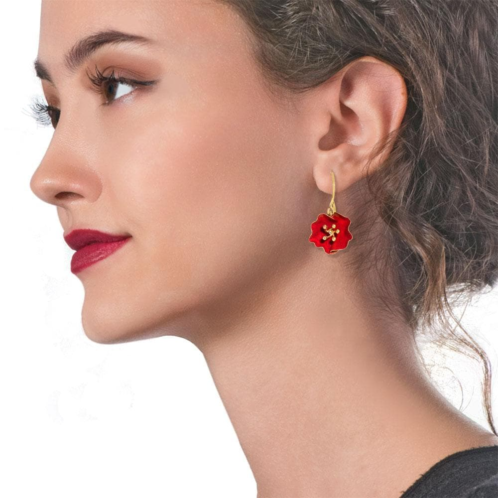 Handmade Gold Plated Silver Red Begonia Flower Dangle Earrings - Anthos Crafts