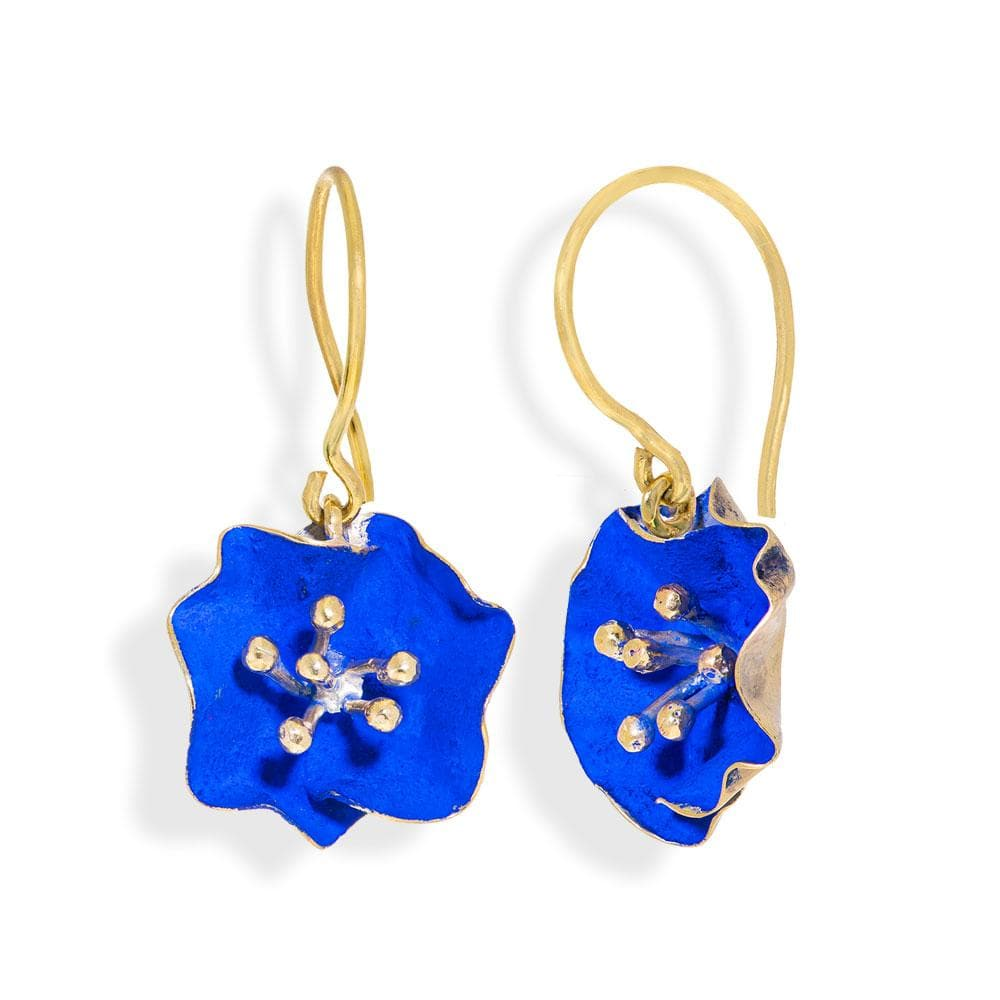 Handmade Gold Plated Silver Royal Blue Begonia Flower Dangle Earrings - Anthos Crafts