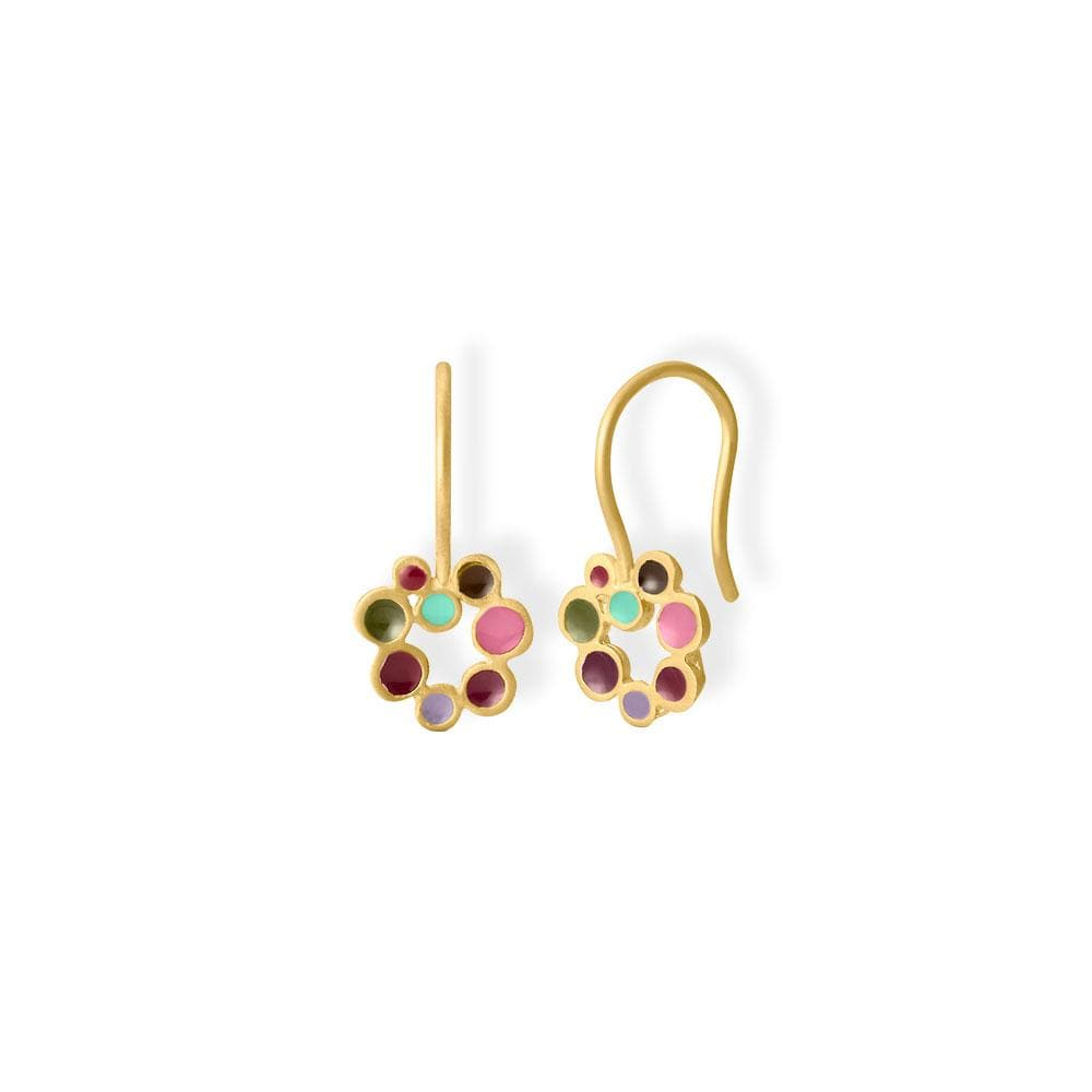 Handmade Gold Plated Drop Earrings With Colorful Enamel Candy Colours JOIDART - Anthos Crafts