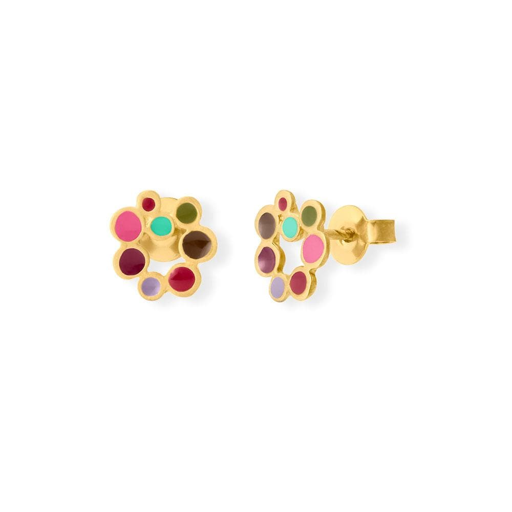 Handmade Gold Plated Stud Earrings With Colorful Enamel Candy Colours JOIDART - Anthos Crafts