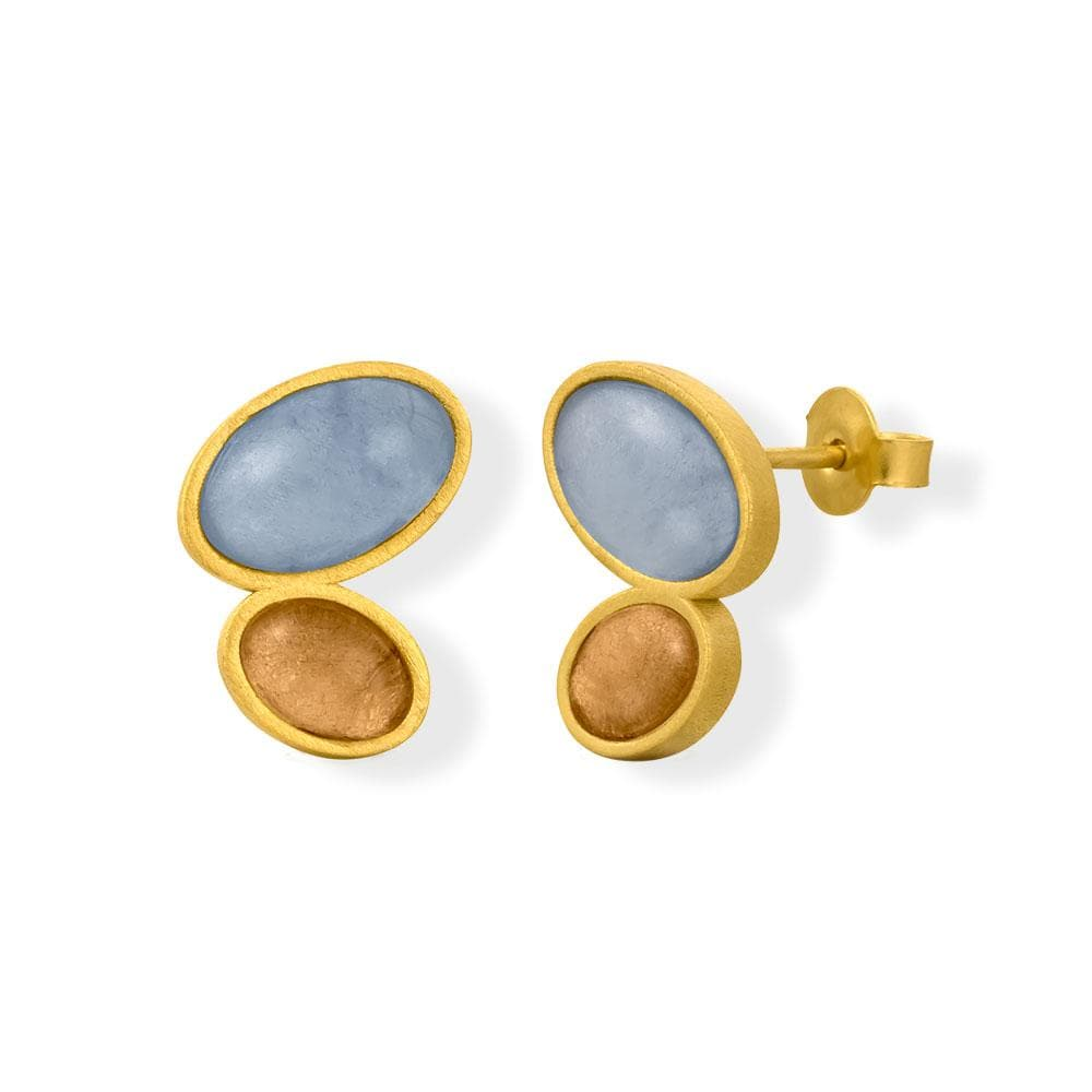 Handmade Gold Plated Stud Earrings With Murano Crystals Alegria JOIDART - Anthos Crafts