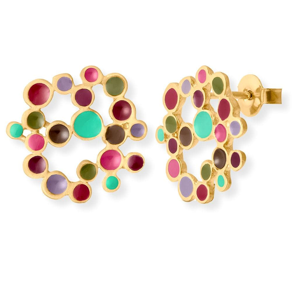 Handmade Gold Plated Stud Earrings With Colorful Enamel Irregular Circles Candy Colours JOIDART - Anthos Crafts