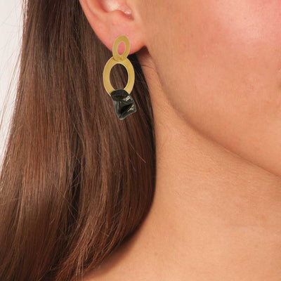 Handmade Gold Plated Bronze Blue Flower Dangle Two Rings Earrings - Anthos Crafts