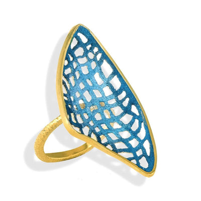 Handmade Gold Plated Silver Ocean Blue Ring - Anthos Crafts
