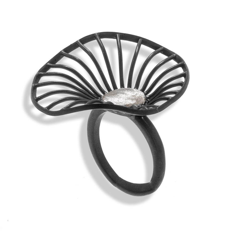 Handmade Black Plated Silver Flower Ring - Anthos Crafts