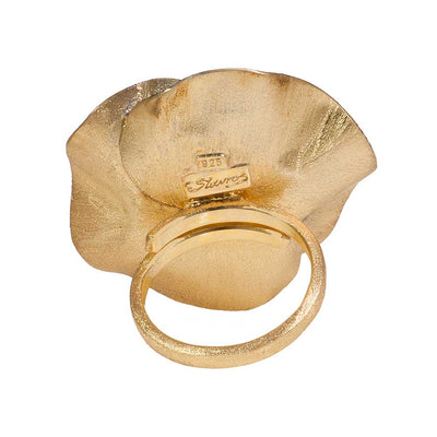 Handmade Gold Plated Silver Blue Flower Ring - Anthos Crafts